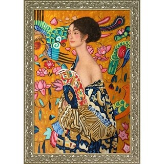 Gustav Klimt 'Signora con Ventaglio Interpretation' Hand Painted Framed Canvas Art