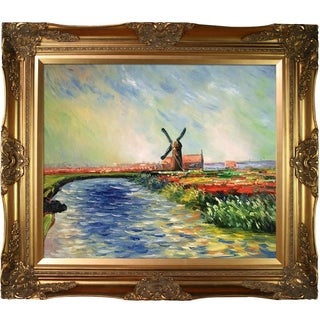 Claude Monet 'Tulip Field in Holland' Hand Painted Framed Canvas Art