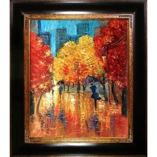 Justyna Kopania 'Autumn' (Umbrellas) Hand Painted Framed Canvas Art