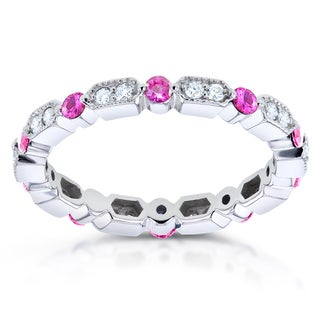 Annello by Kobelli 14k White Gold 2/5ct TCW Pink Sapphire and 1/5ct TDW Diamond Milgrain Eternity Ri