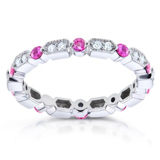 Annello 14k White Gold 2/5ct TCW Pink Sapphire and 1/5ct TDW Diamond Milgrain Eternity Ring (G-H, I1-I2)