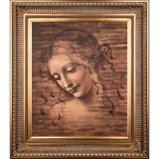 Leonardo Da Vinci 'Female Head (La Scapigliata)' Hand-painted Framed Canvas Art