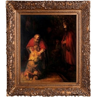 Rembrandt 'Return of the Prodigal Son' Hand Painted Framed Canvas Art