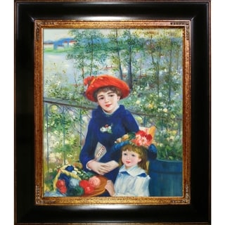 Pierre-Auguste Renoir 'Two Sisters' (On the Terrace), 1881 Hand Painted Framed Canvas Art