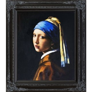 Johannes Vermeer 'Girl with Pearl Earring' Hand Painted Framed Canvas Art
