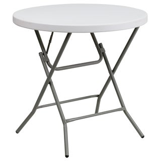 31.5-inch Round Granite White Plastic Folding Table