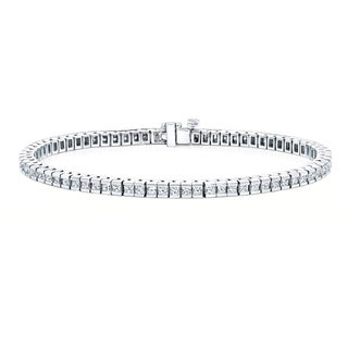 Auriya 14k Gold 6 3/4ct TDW Channel-Set Princess Cut Diamond Bracelet (H-I, VS1-VS2)