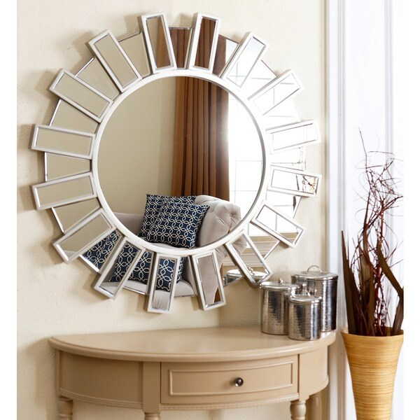 Abbyson cambria 36 inch round wall mirror free shipping for Large round mirror for living room