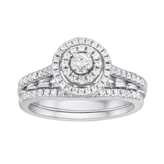Platinaire 3/8ct TDW Diamond Halo Bridal Ring Set (I-J, I2-I3)