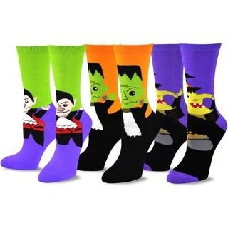 Halloween Socks 3 Pack - Witch, Frank,Vampire Head Womens Crew