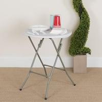 24-inch Round Granite White Plastic Folding Table