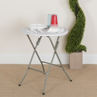 24-inch Round Granite White Plastic Folding Table