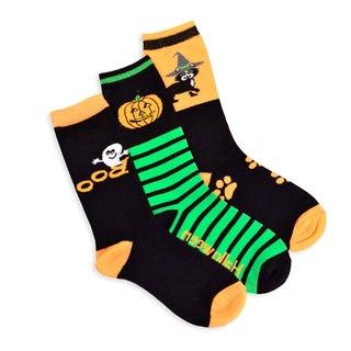 Halloween Socks - Witch Cat Ghost 3-pair Pack Women's Crew Socks
