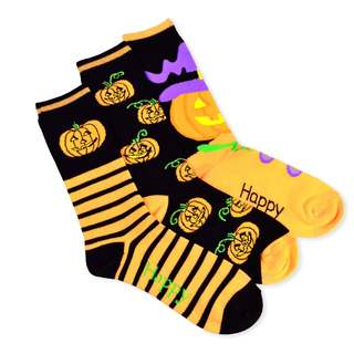 Halloween Socks - I Love Pumpkin 3-pair Pack Women's Crew Socks