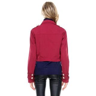 Stanzino Women's Long Sleeve Cropped Military Bolero Jacket