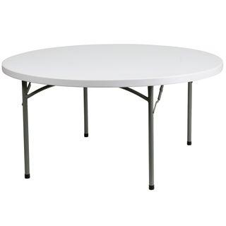 60-inch Round Granite White Plastic Folding Table