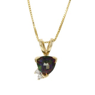 H Star 14k Yellow Gold Mystic Fire Topaz Diamond Accent Necklace