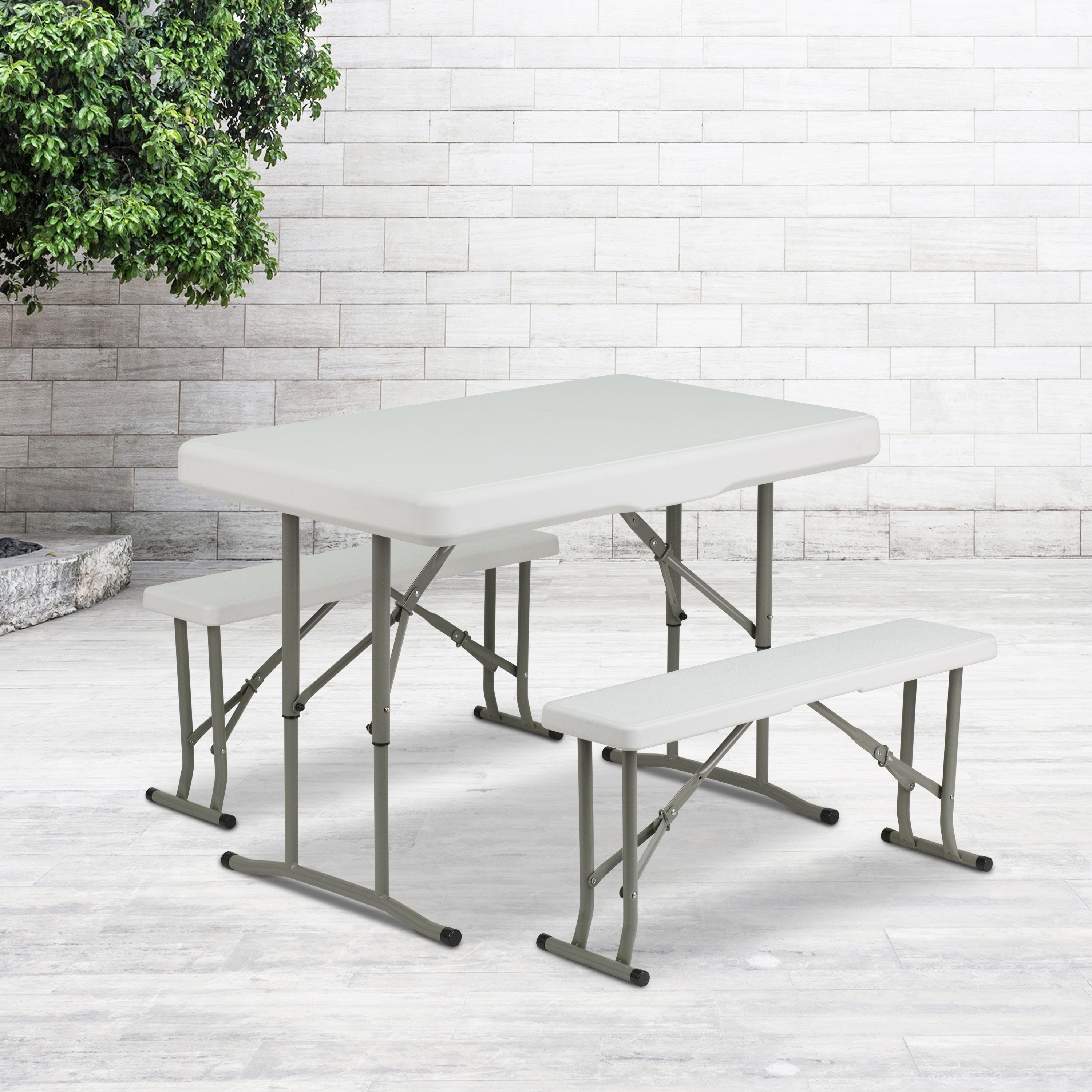 FLASH Furniture Plastic Folding Table and Benches (White)