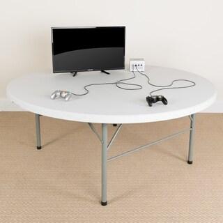 72-inch Round Bi-fold White Table