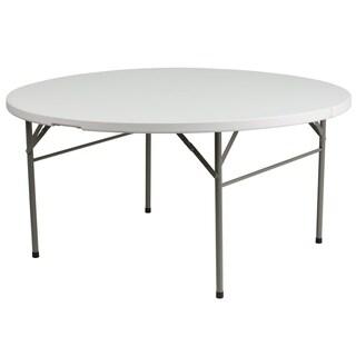 "60-inch Round Bi-fold White Table - 60.5""W x 60.5""D x 29.5""H"