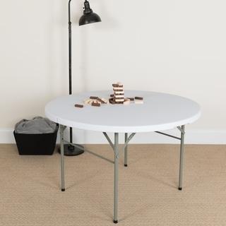 48-inch Round Bi-fold White Table