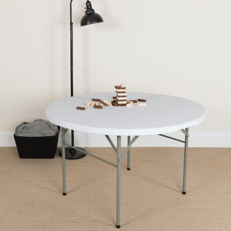 48 Inch Round Bi Fold White Table 889142181392 Ebay