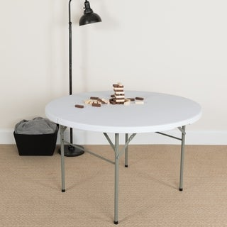 48-inch Round Bi-fold White Table