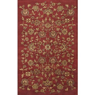 ABC Accents Transitional Floral Mehroon Brown Beige Wool Rug