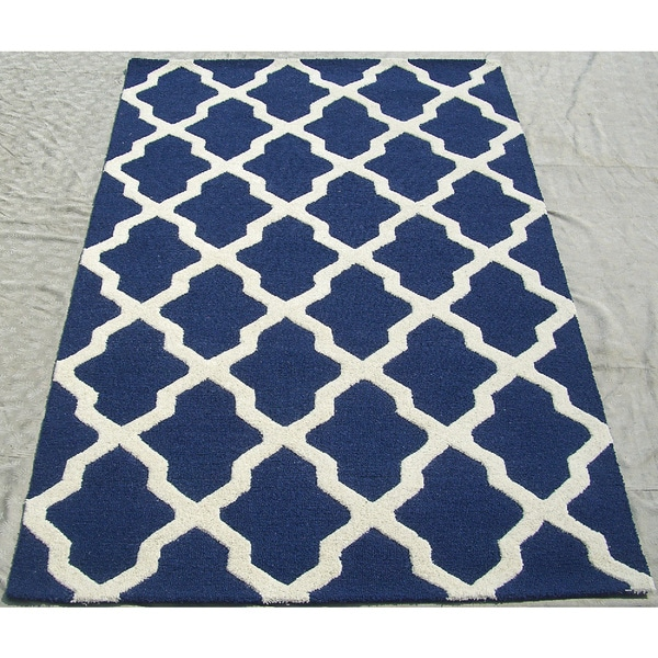 Shop ABC Accents Moroccan Trellis Navy Ivory Wool Rug