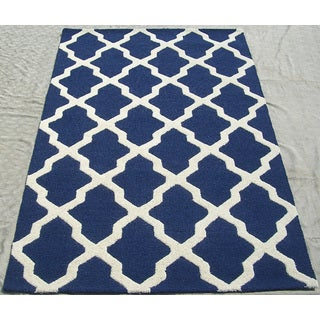 ABC Accents Moroccan Trellis Navy Ivory Wool Rug