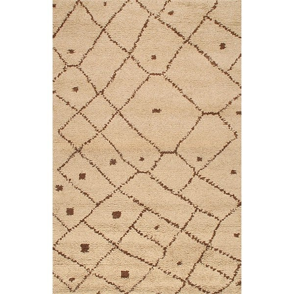Shop ABC Accents Moroccan Beni Ourain Woven Beige Wool Rug