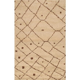 ABC Accents Moroccan Beni Ourain Woven Beige Wool Rug