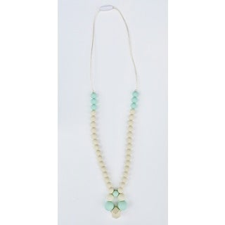 Pretty Little Stye Turquoise and Cream BPA Free Silicone Loop Teething Necklace
