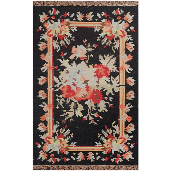 Shop ABC Accents Floral Black Wool Rug