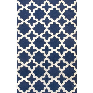 ABC Accents Star Trellis Navy Wool Rug