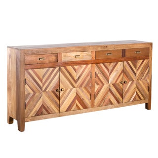 Reclaimed Wood Plank Inlay Console