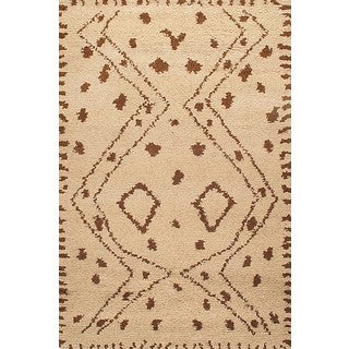 ABC Accents Moroccan Beni Ourain Beige Wool Rug