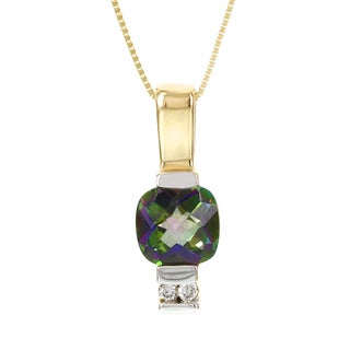 H Star 14k Yellow Gold Cushion-cut Mystic Fire Topaz Diamond Accent Necklace