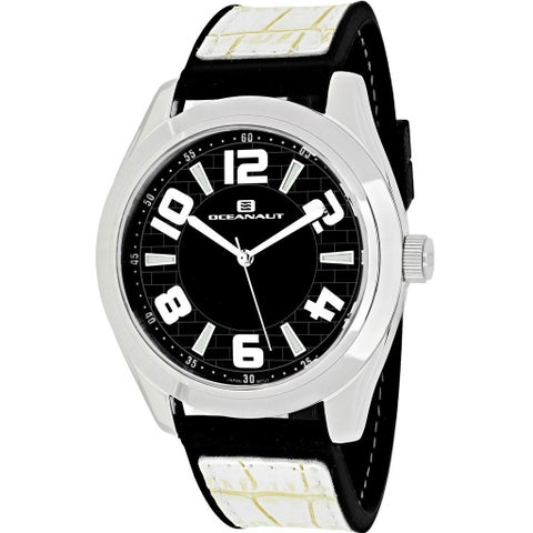 Oceanaut Men's Vault Round White Leather and Silicone Strap Watch
