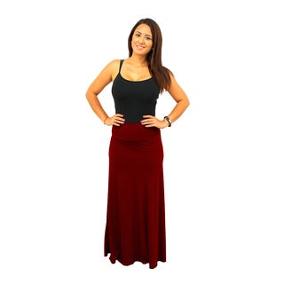Women's Fold over Waist Jewel Tone Solid Maxi Skirt