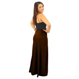 Women's Fold over Waist Full Length Solid Maxi Skirt
