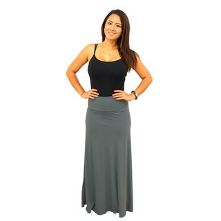 Women's Fold over Waist Full Length Solid Maxi Skirt