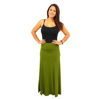 Women's Fold over Waist Full Length Solid Skirt