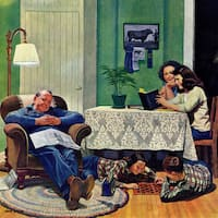 Marmont Hill - After Dinner at the Farm by John Falter Painting Print on Canvas - Multi-color