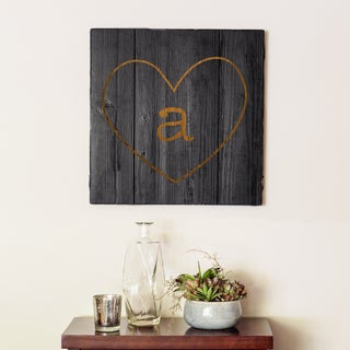 Personalized Black Rustic Heart Wooden Wall Art