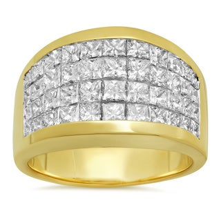Artistry Collections 14k Yellow Gold 4ct TDW Diamond 4-row Invisible set Ring (D-E, VS1-VS2)