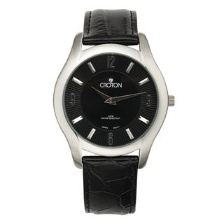 Croton Men's CN307501BSBK Stainless Steel Black Leather Strap Watch