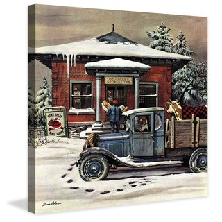 Marmont Hill - Rural Post Office at Christmas by Stevan Dohanos Painting Print on Canvas - Multi-color
