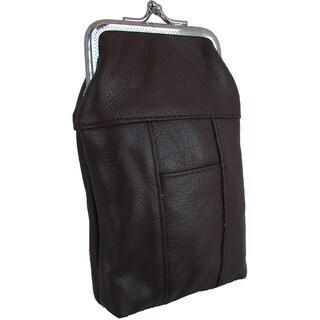 Genuine Leather Kiss Locket Cigarette Case Pouch with Dedicated Lighter Pocket (Option: Beige)