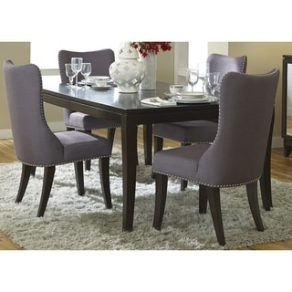 Platinum Satin Espresso Saber Leg Table